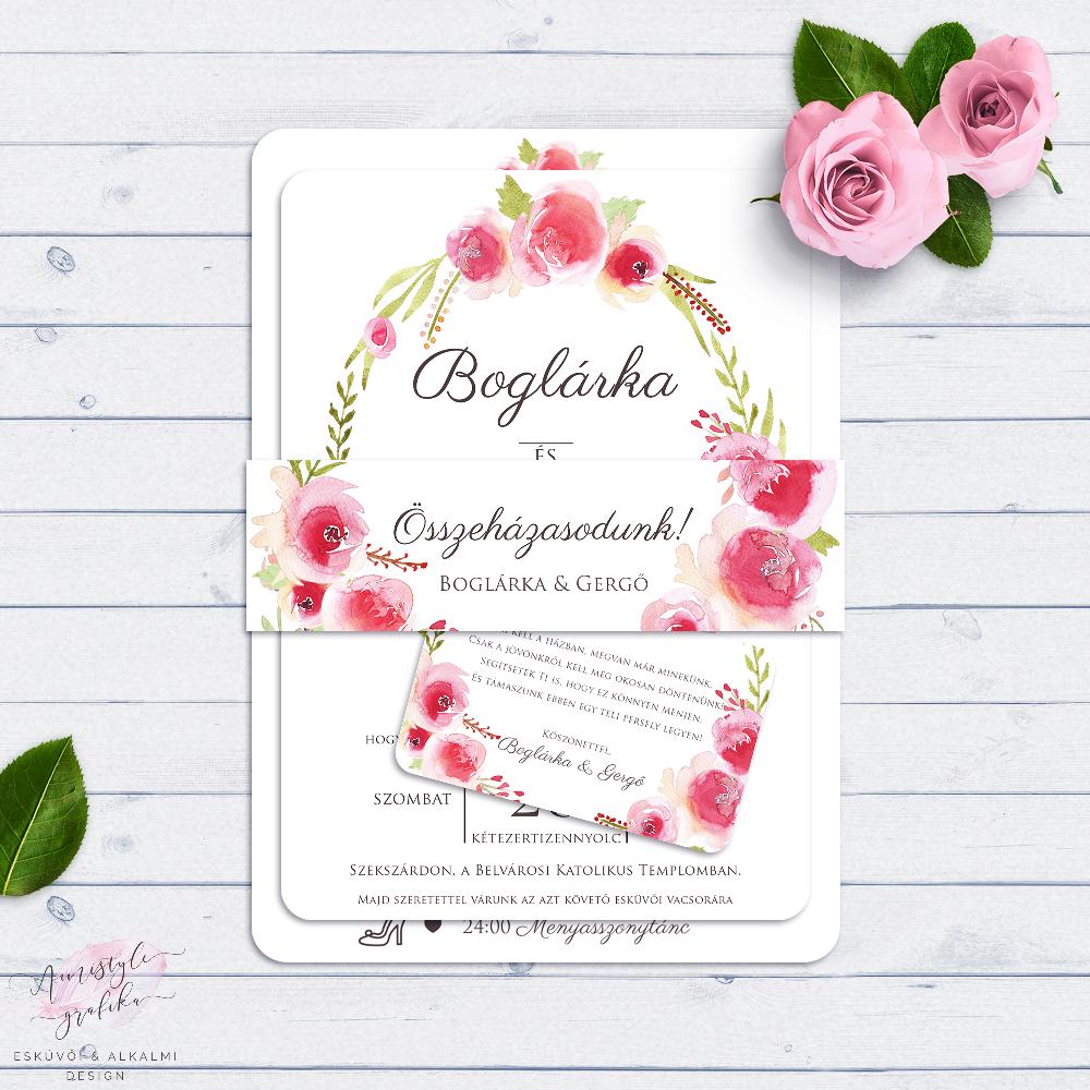Akvarell Virágkoszorús Esküvői Meghívó Szett