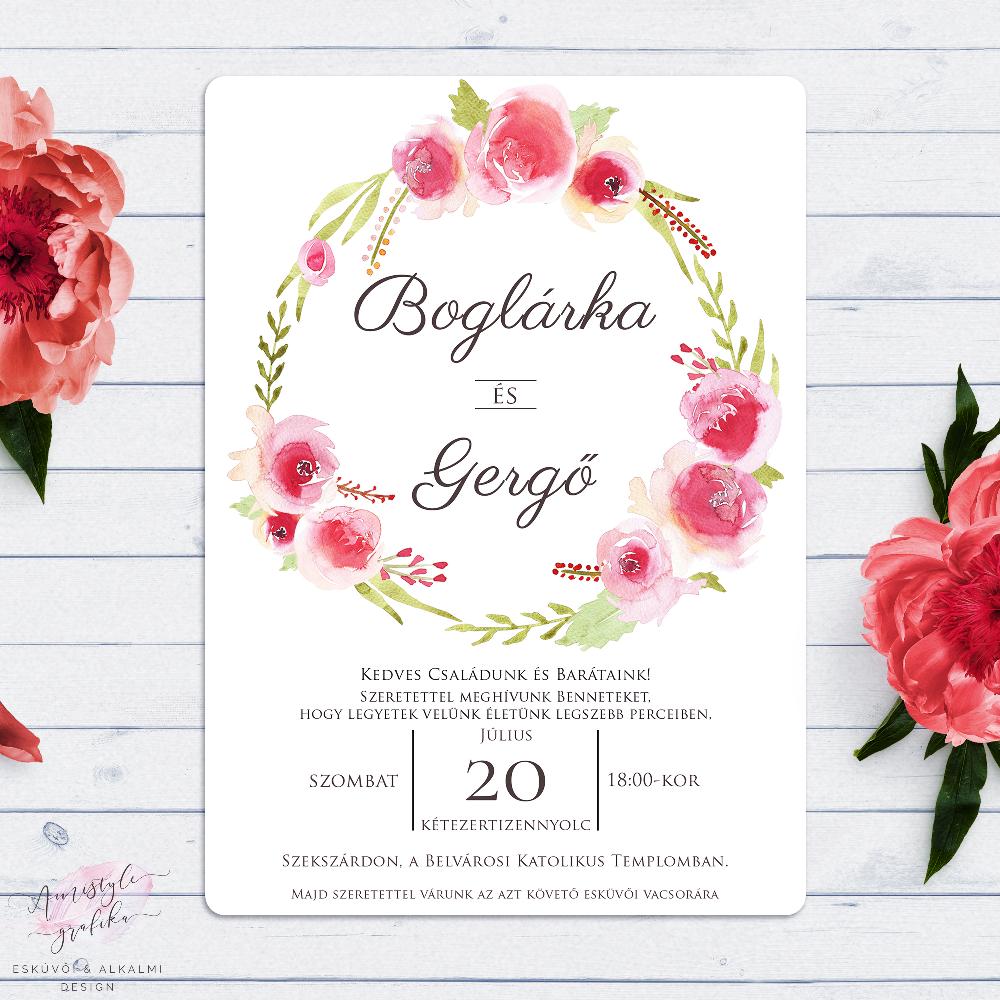 Akvarell Virágkoszorús Esküvői Meghívó