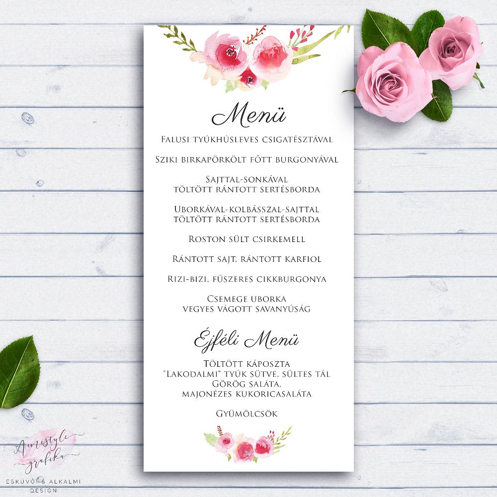 04e771ac29 Festett Rózskoszorús Esküvői Menü Kártya - Esküvői Meghívó, Alkalmi ...