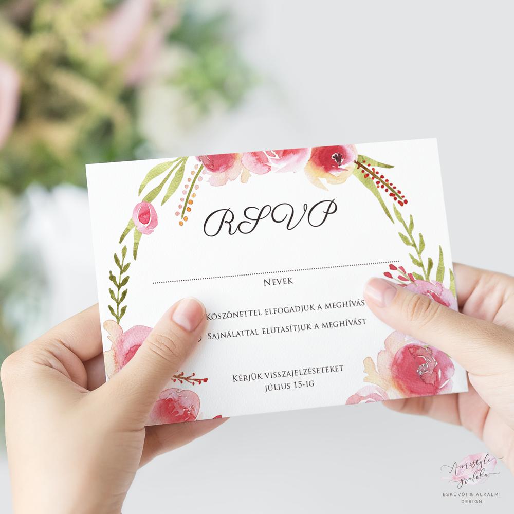 Vízfestékes Rózsakoszorús Esküvői RSVP Válaszkártya