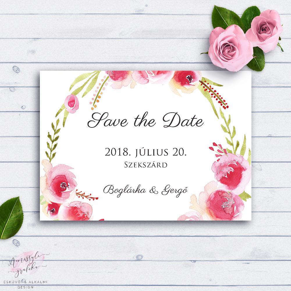 Akvarell Rózsás Esküvői Save the Date Értesítő Kártya