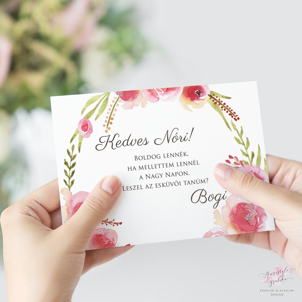 Watercolor Rózsás Esküvői Tanú Felkérő Kártya