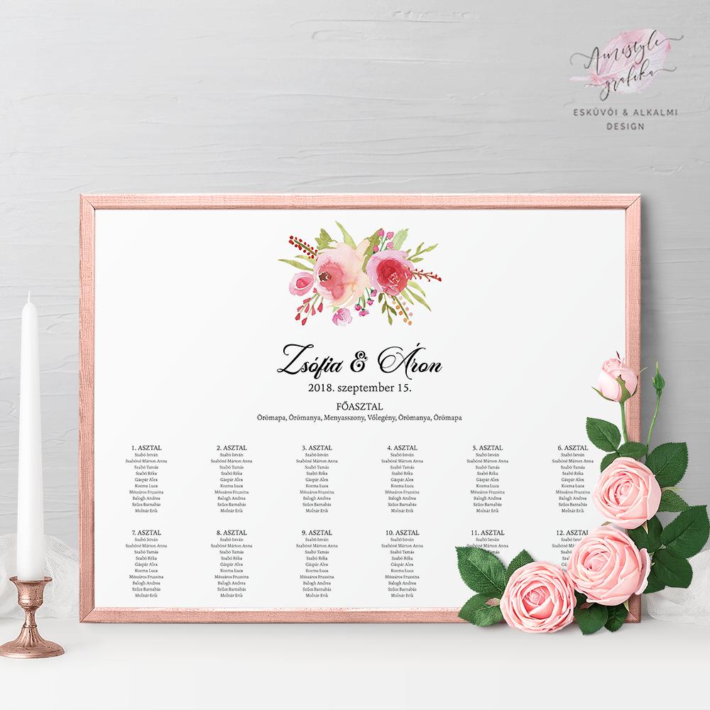 Rózsás Esküvői Ültetési Rend