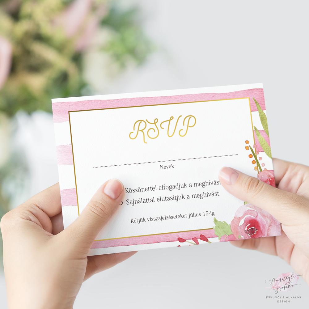 Vízfestékes Pink Csíkos Esküvői RSVP Válaszkártya