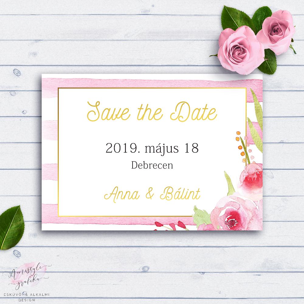 Pink Csíkos Esküvői Save the Date Értesítő Kártya