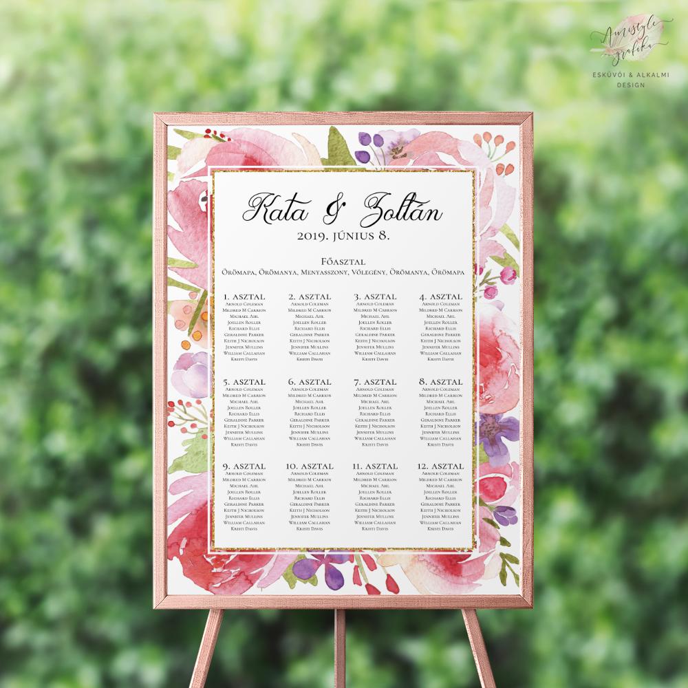 Akvarell Virágos Esküvői Ültetési Rend
