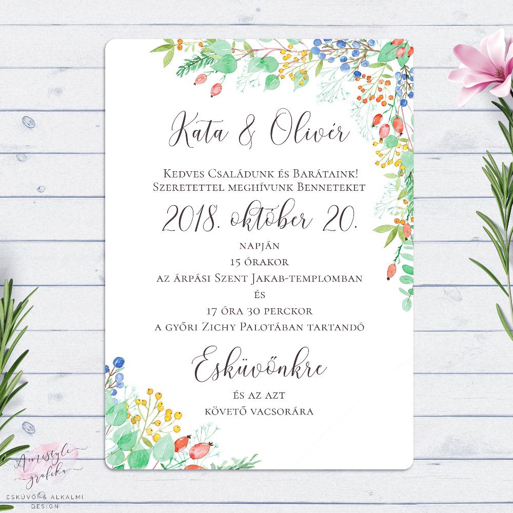 Őszi Bogyós Festett Esküvői Meghívó