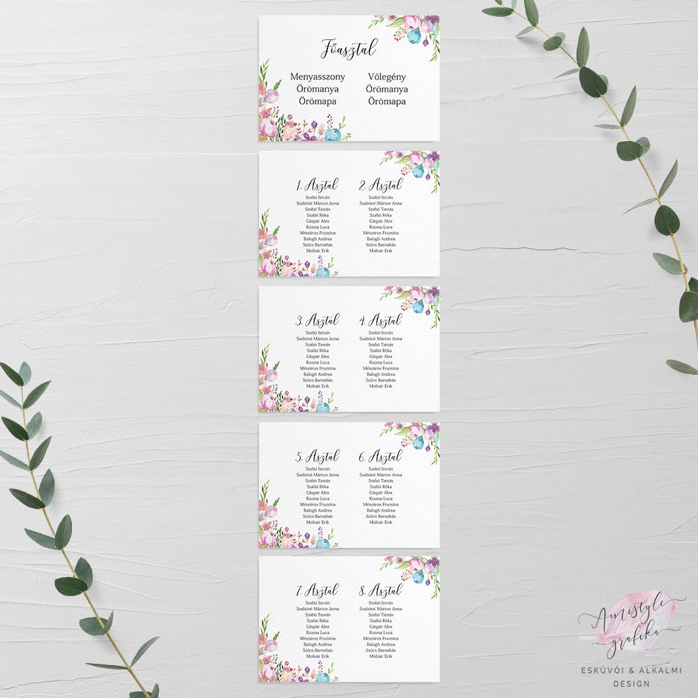 Virágmintás Esküvői Ültetési Rend