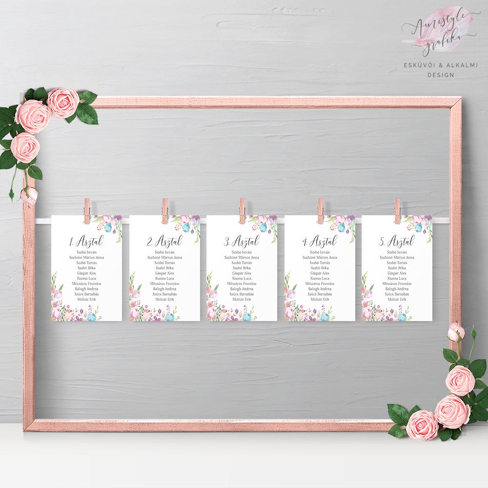 Akvarell Rózsás Esküvői Ültetési Rend