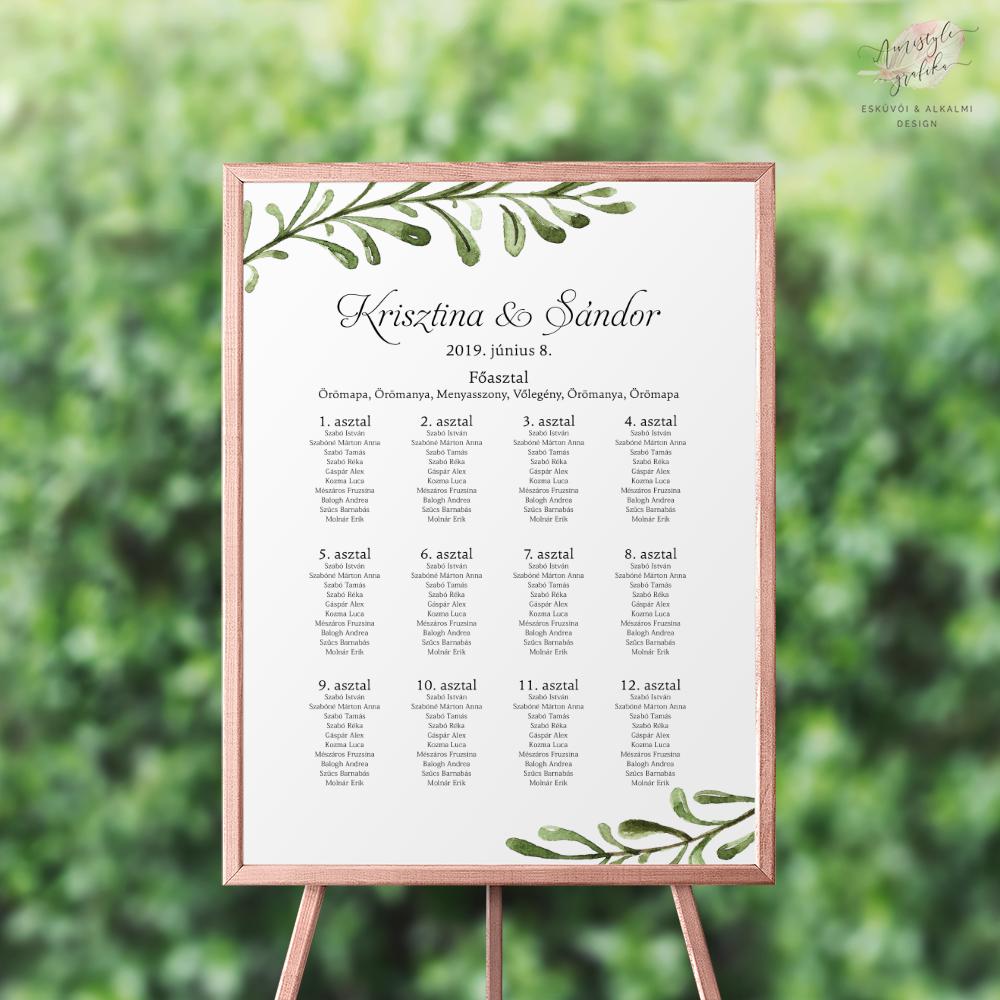 Esküvői Ültetési Rend Greenery Grafikával