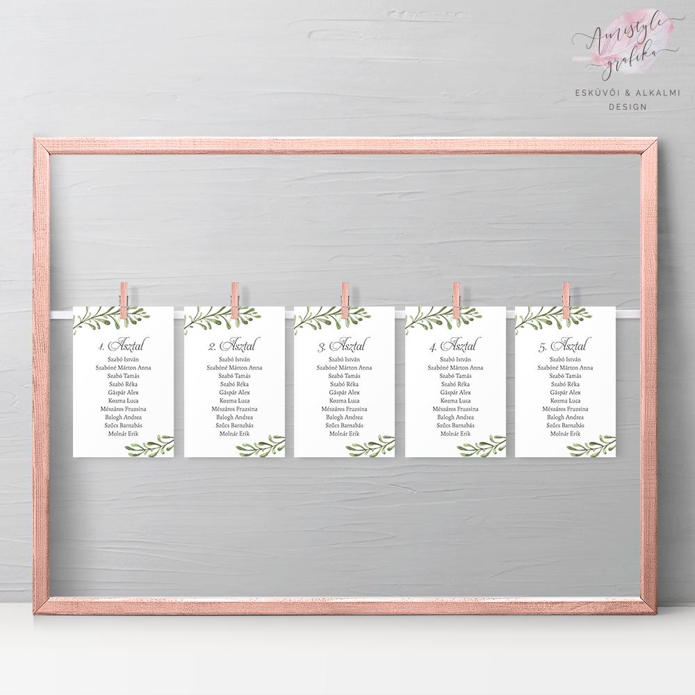 Akvarell Greenery Esküvői Ültetési Rend