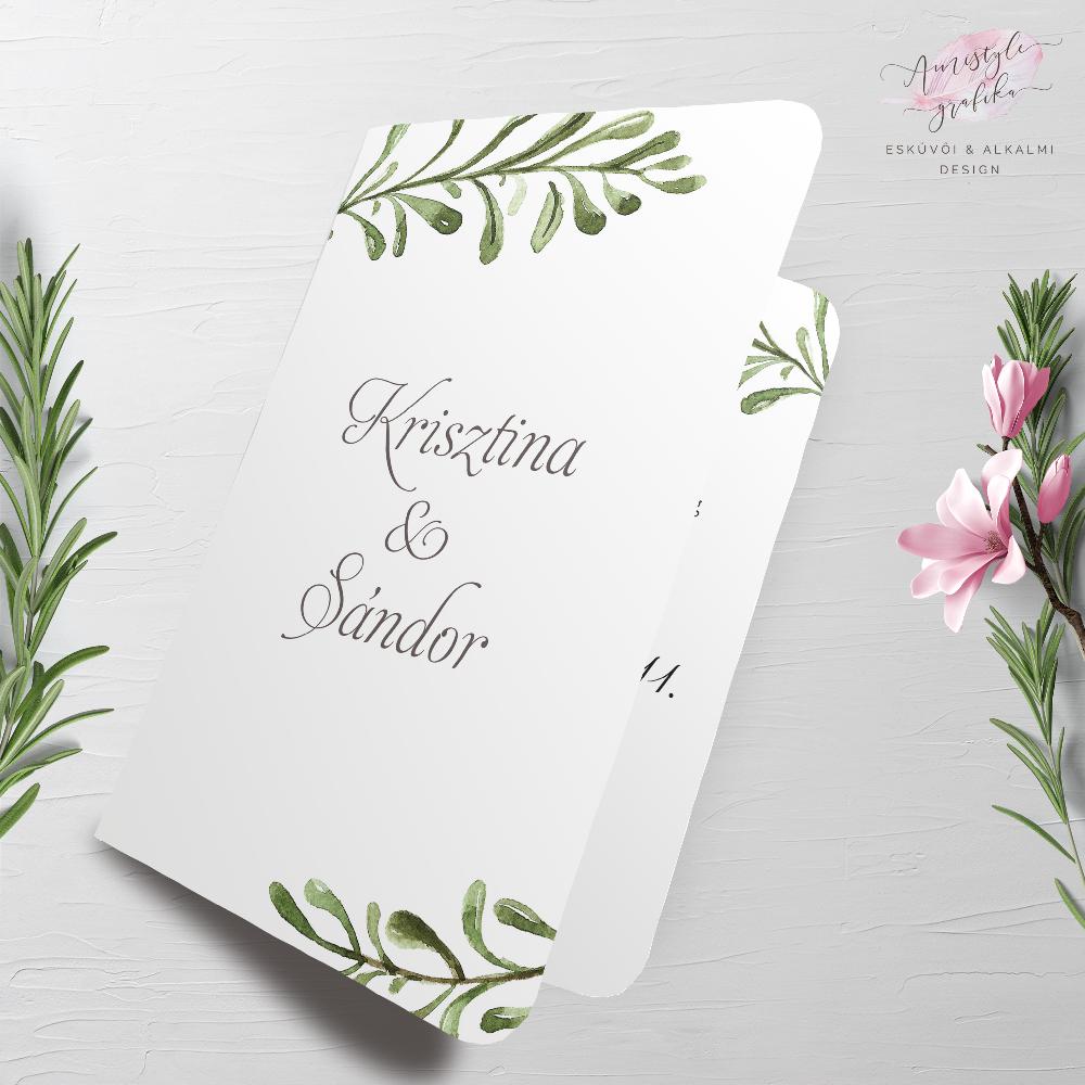 Greenery Akvarell Nyitható Esküvői Meghívó
