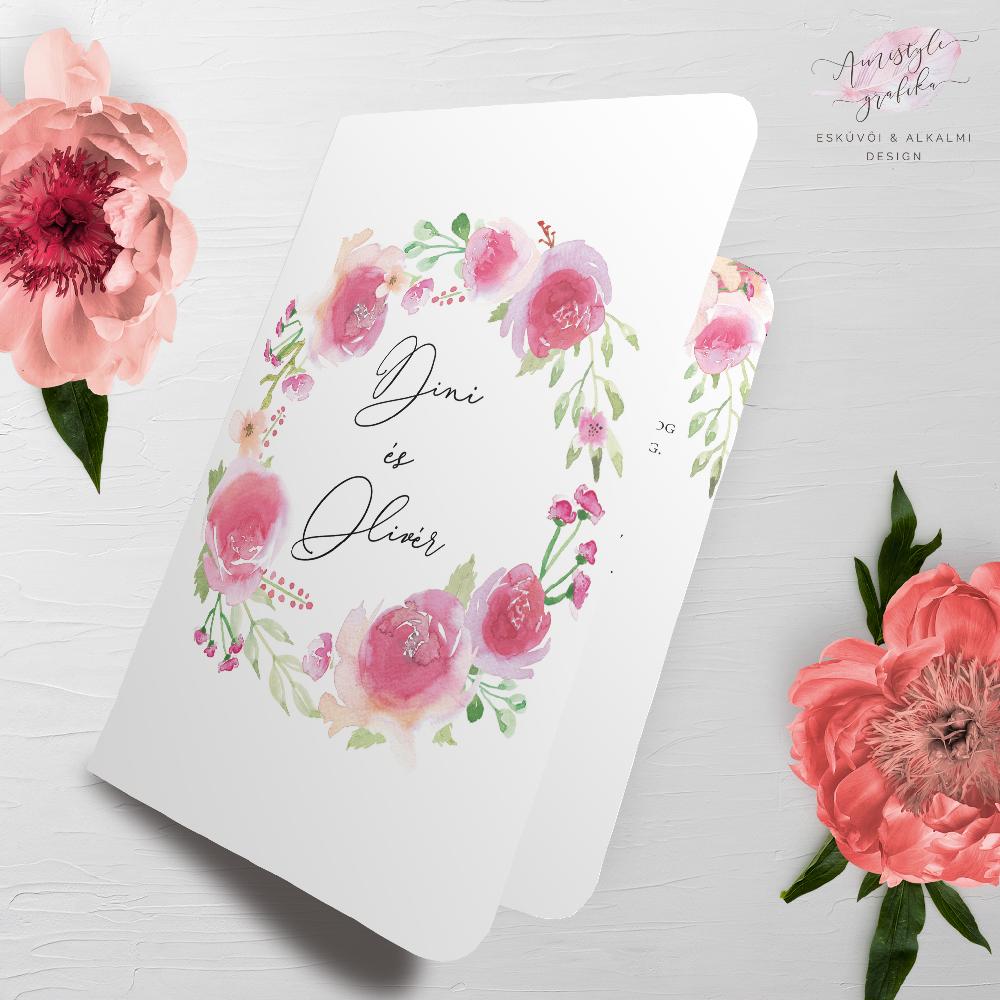 Kézzel Festett Virágos Hajtott Esküvői Meghívó