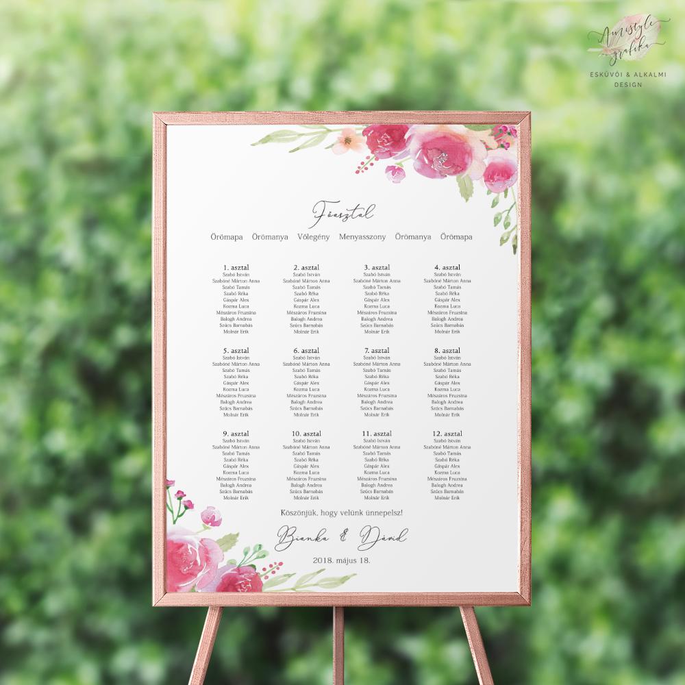 Pink-Barack Rózsás Esküvői Ültetési Rend