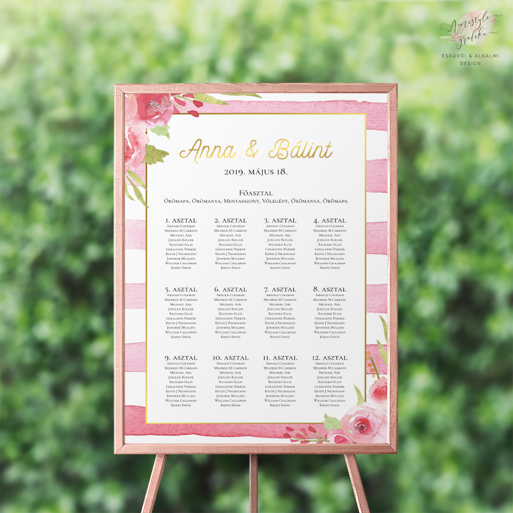 Pink Csíkos-Rózsás Esküvői Ültetési Rend