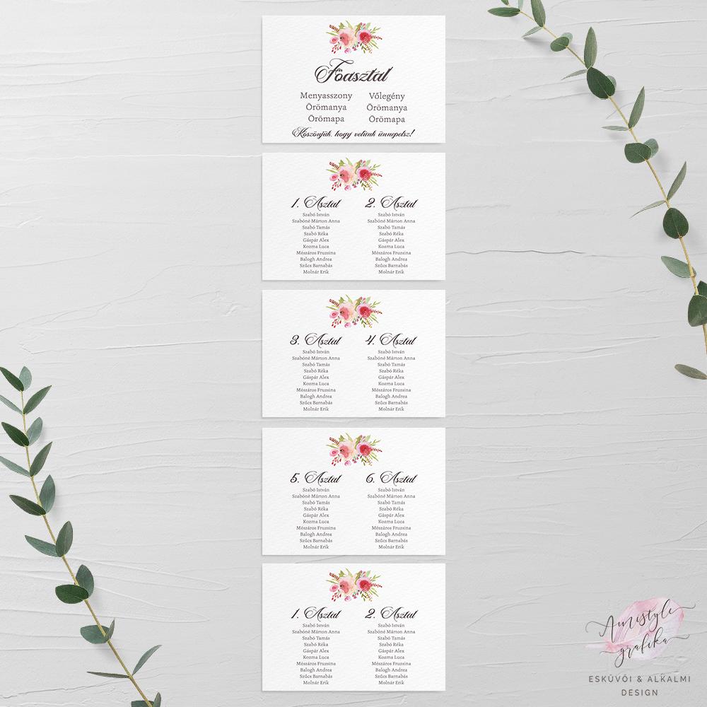 Kézzel Festett Rózsás Esküvői Ültetési Rend