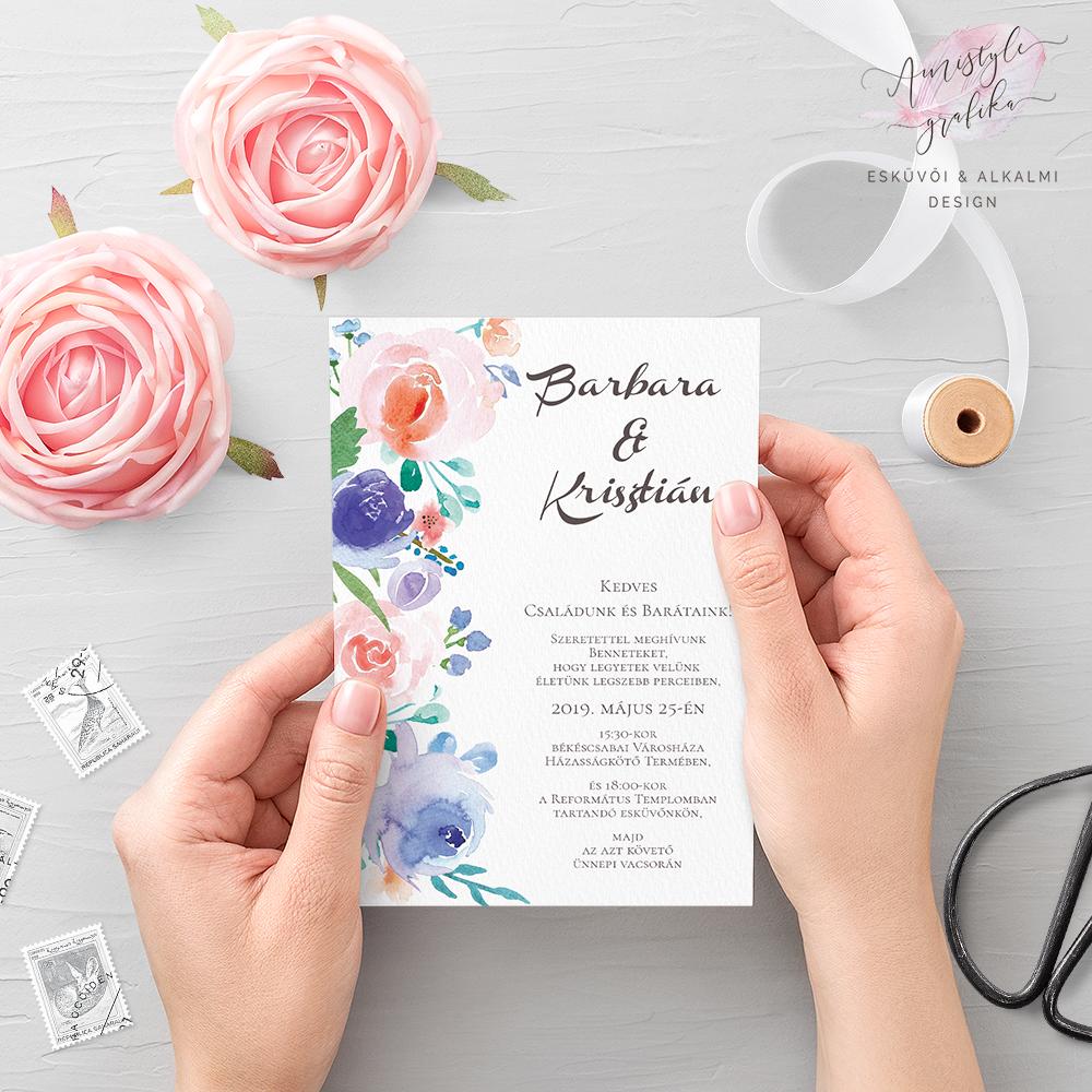 Kék és Korall Virágos Esküvői Meghívó