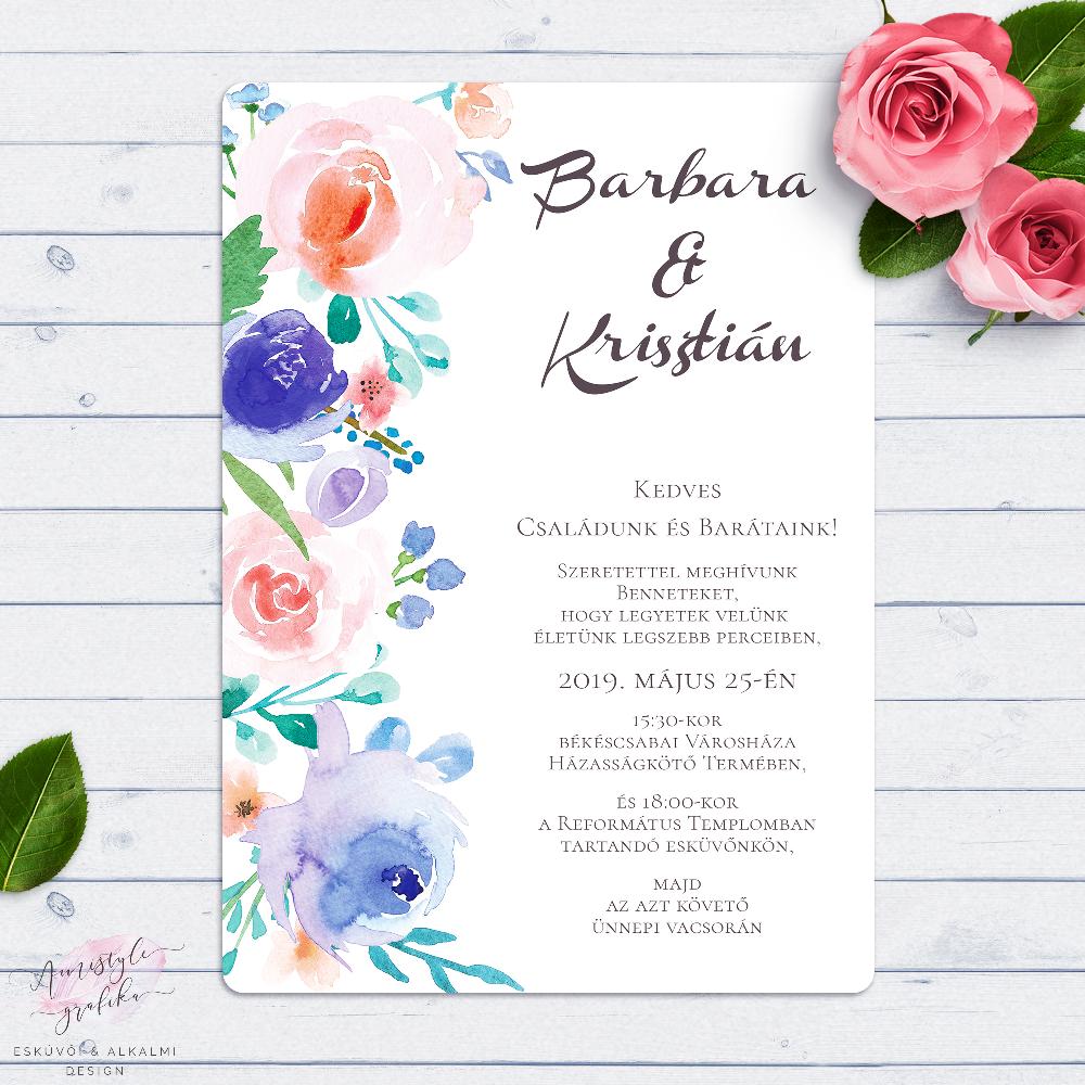 4146644d2e Kék és Korall Virágos Esküvői Meghívó - Esküvői Meghívó, Alkalmi és ...