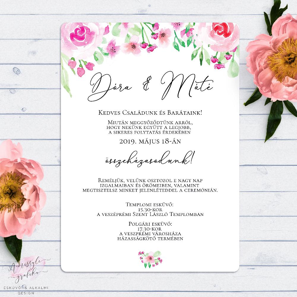 Blush Rózsás Romantikus Esküvői Meghívó