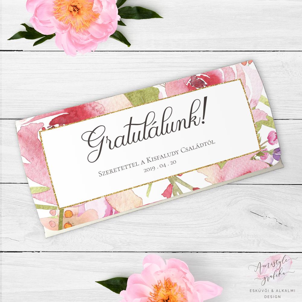 ca2944c556 Romantikus Virágmintás Nászajándék Pénzátadó Boríték - Esküvői ...