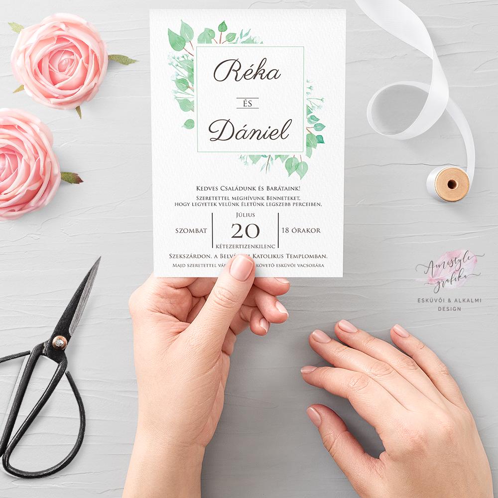 Eukaliptusz Akvarell Esküvői Meghívó