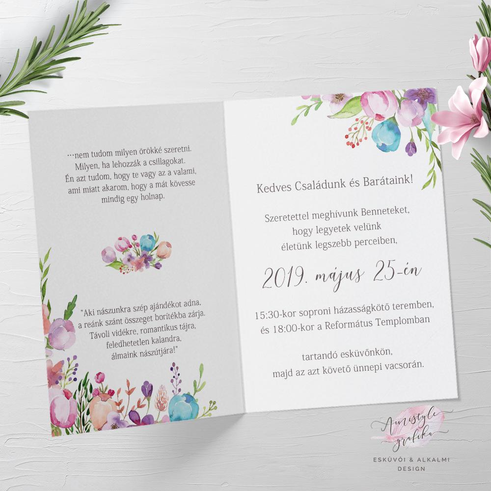 Floral Hajtott Esküvői Meghívó