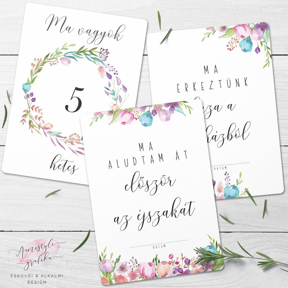 Virágözön Kisbaba Mérföldkő Kártyák