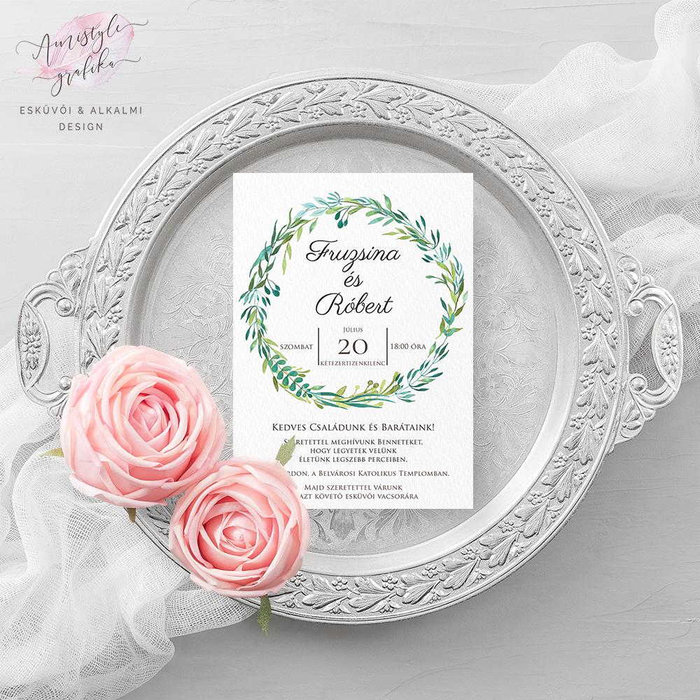 Greenery Koszorús Esküvői Meghívó