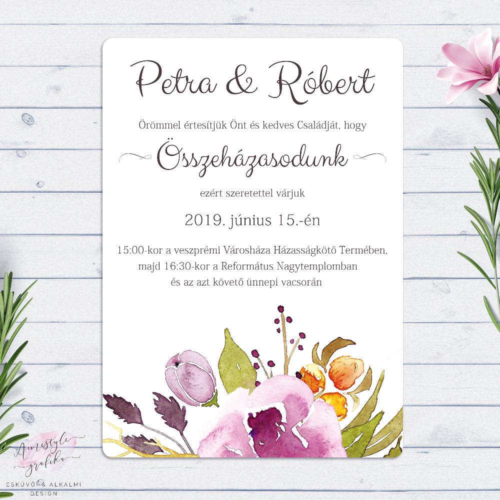 Marsala Boho Akvarell Esküvői Meghívó