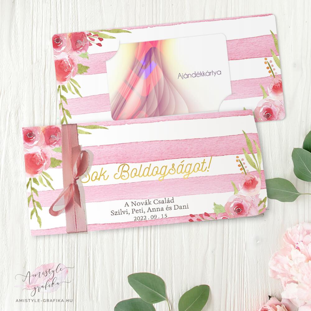 Pink Akvarell Vintage Ajándékpénz Átadó Boríték