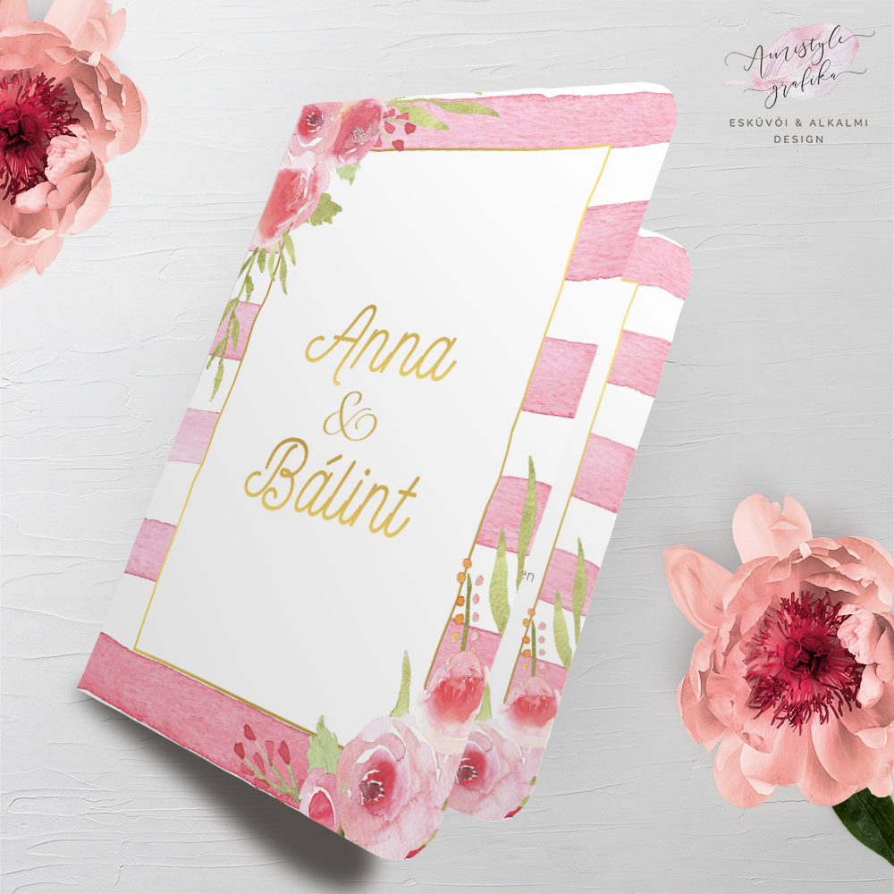 Pink Csíkos Akvarell Hajtott Esküvői Meghívó