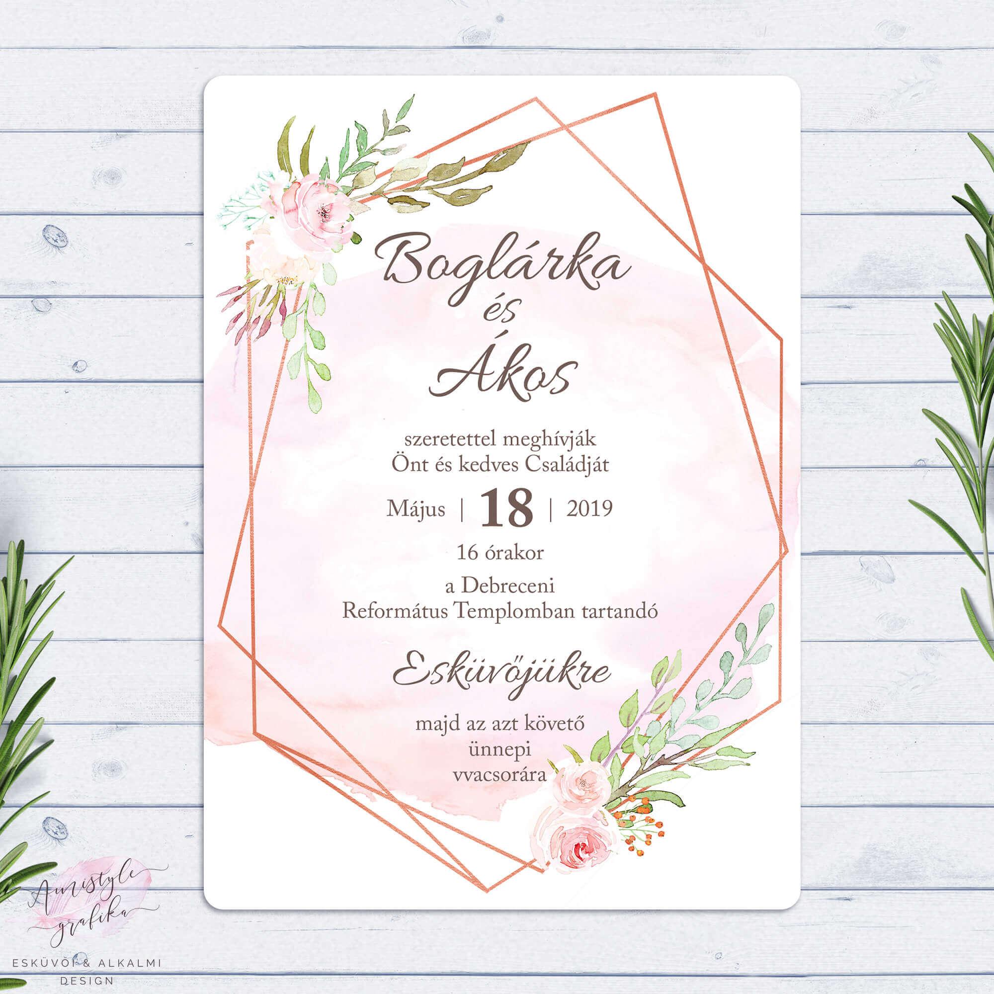 Virágos Geometrikus Rosegold Esküvői Meghívó