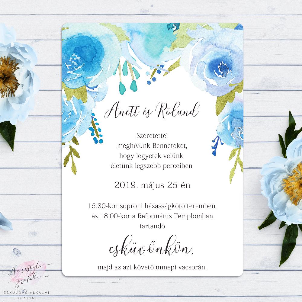 Kék Rózsakert Akvarell-Grafikás Esküvői Meghívó