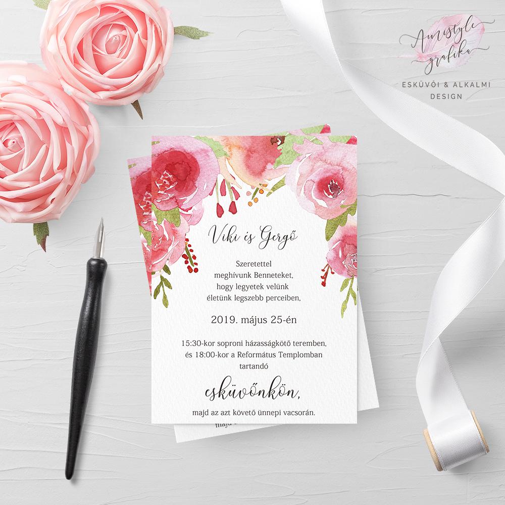 Pink Rózsakert Akvarell-Grafikás Esküvői Meghívó
