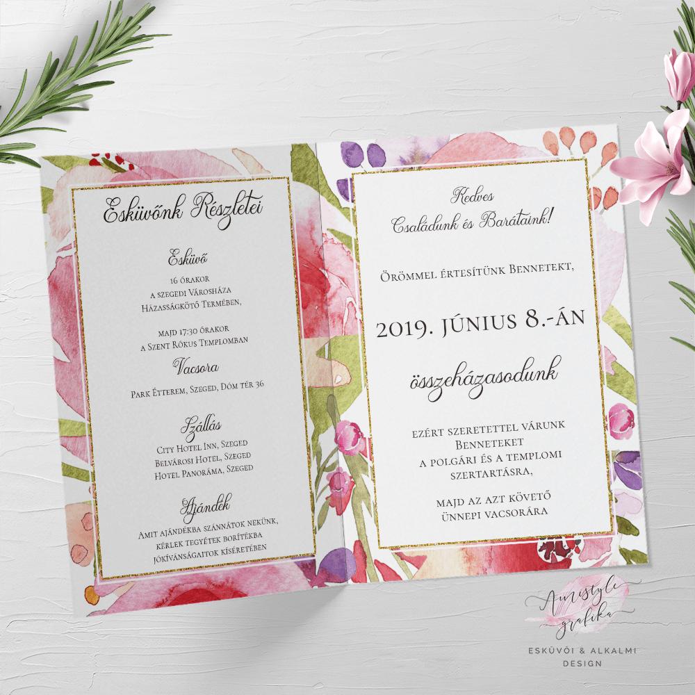 Akvarell Virágos Hajtott Esküvői Meghívó