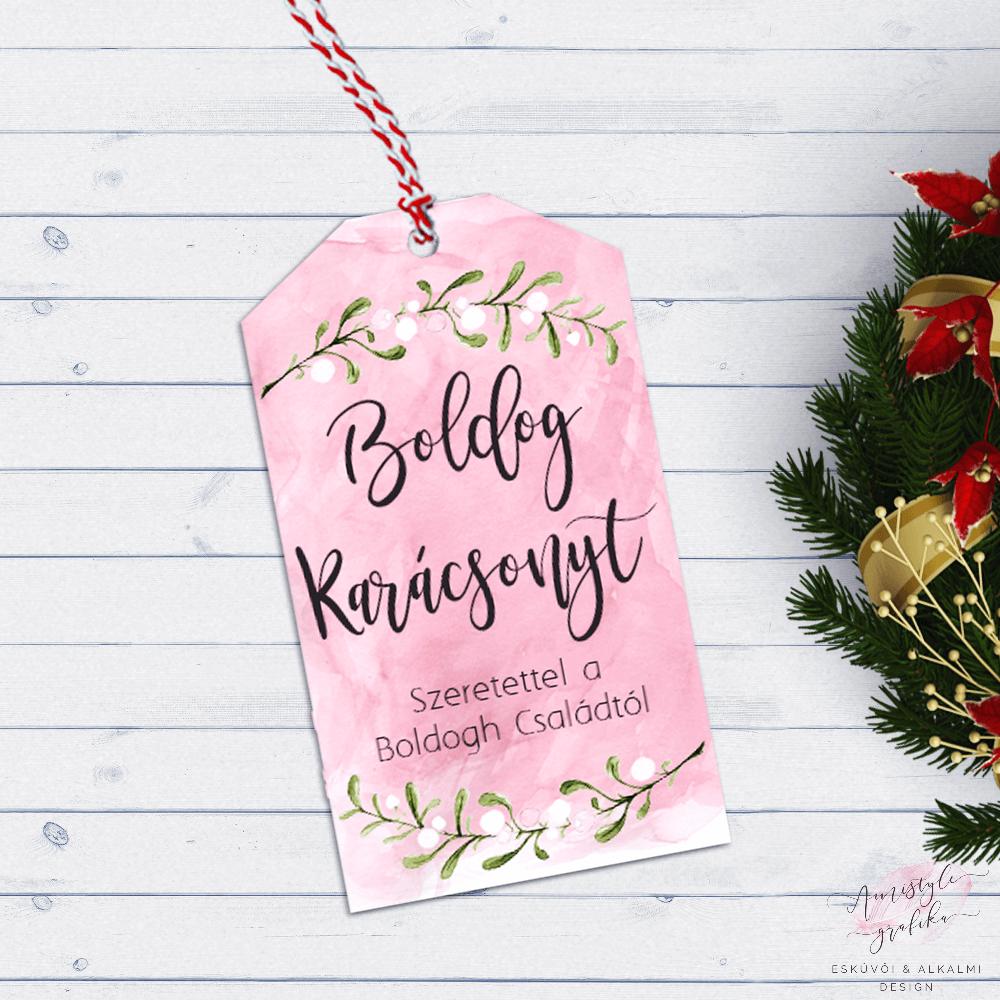 Pink Akvarell Karácsonyi Ajándékkísérő Kártya