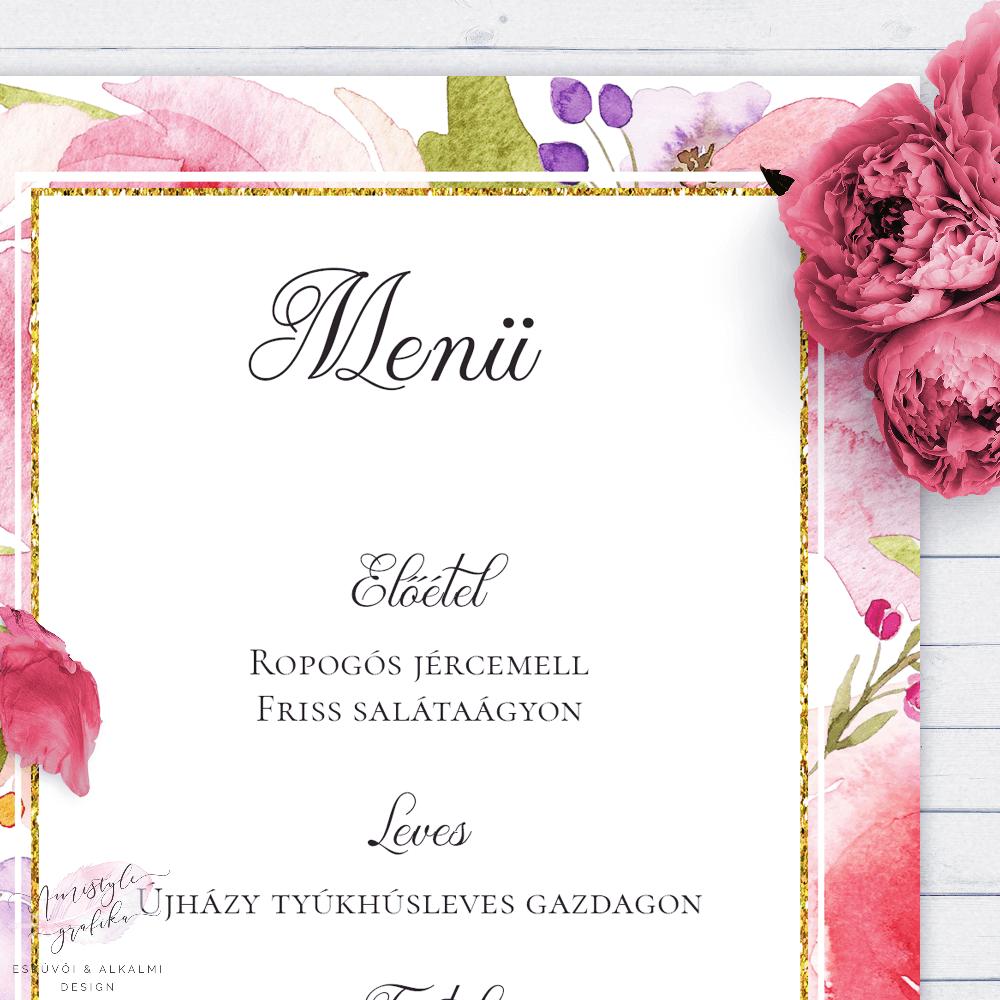 Watercolor Esküvői Menü Kártya