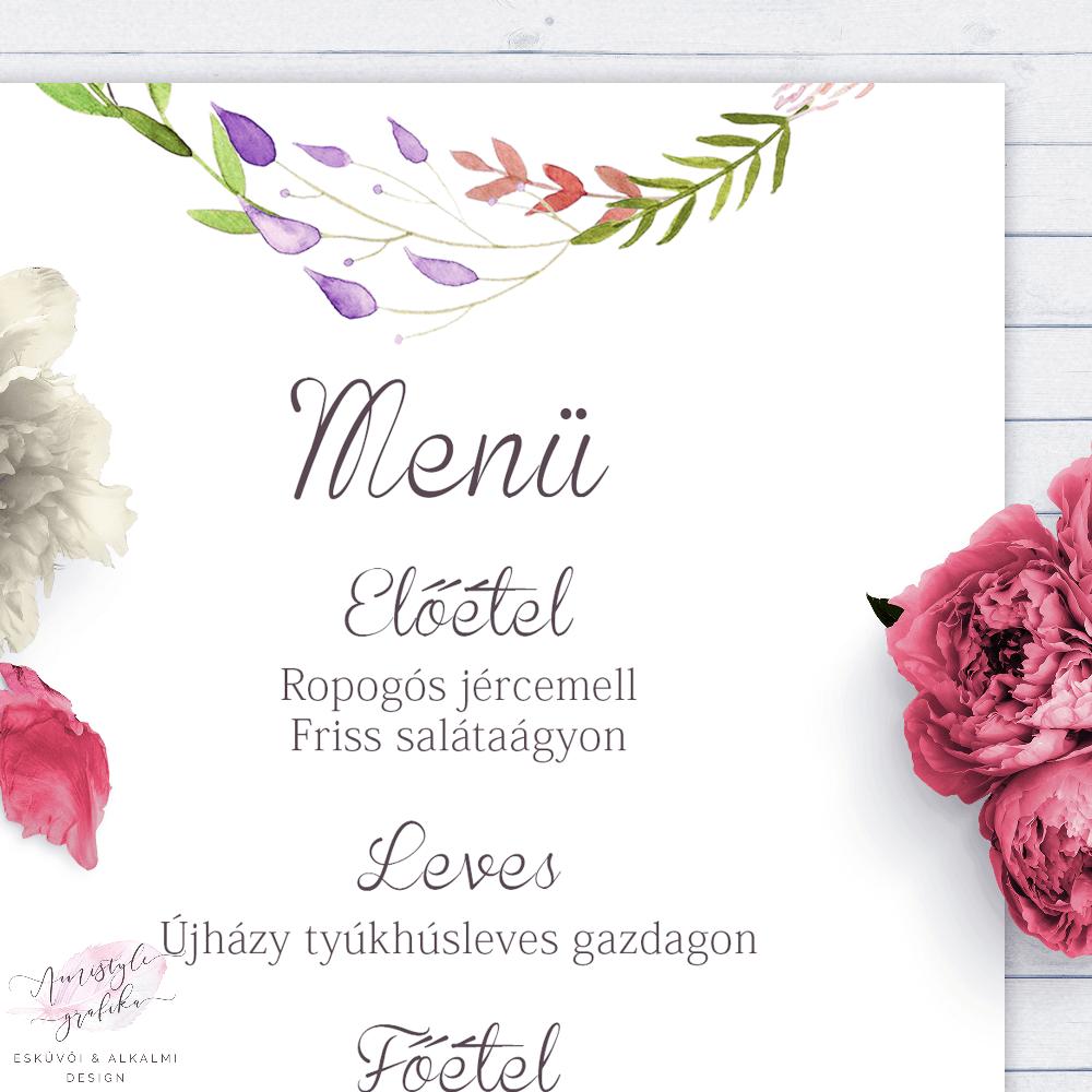 Akvarell Virágkoszorús Esküvői Menü Kártya