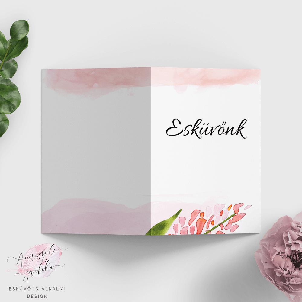 Pink Akácos Vízfestékes Nyitható Esküvői Meghívó