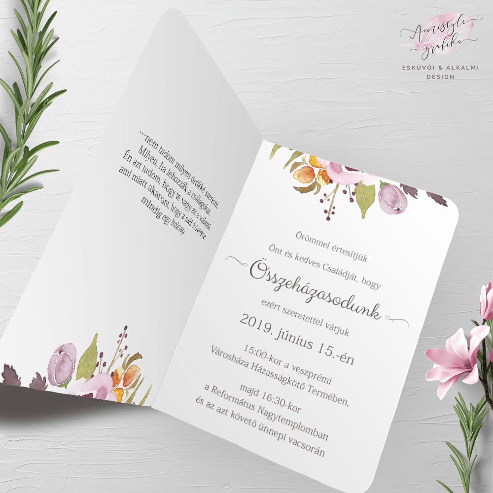 Marsala Festett Nyitható Esküvői Meghívó