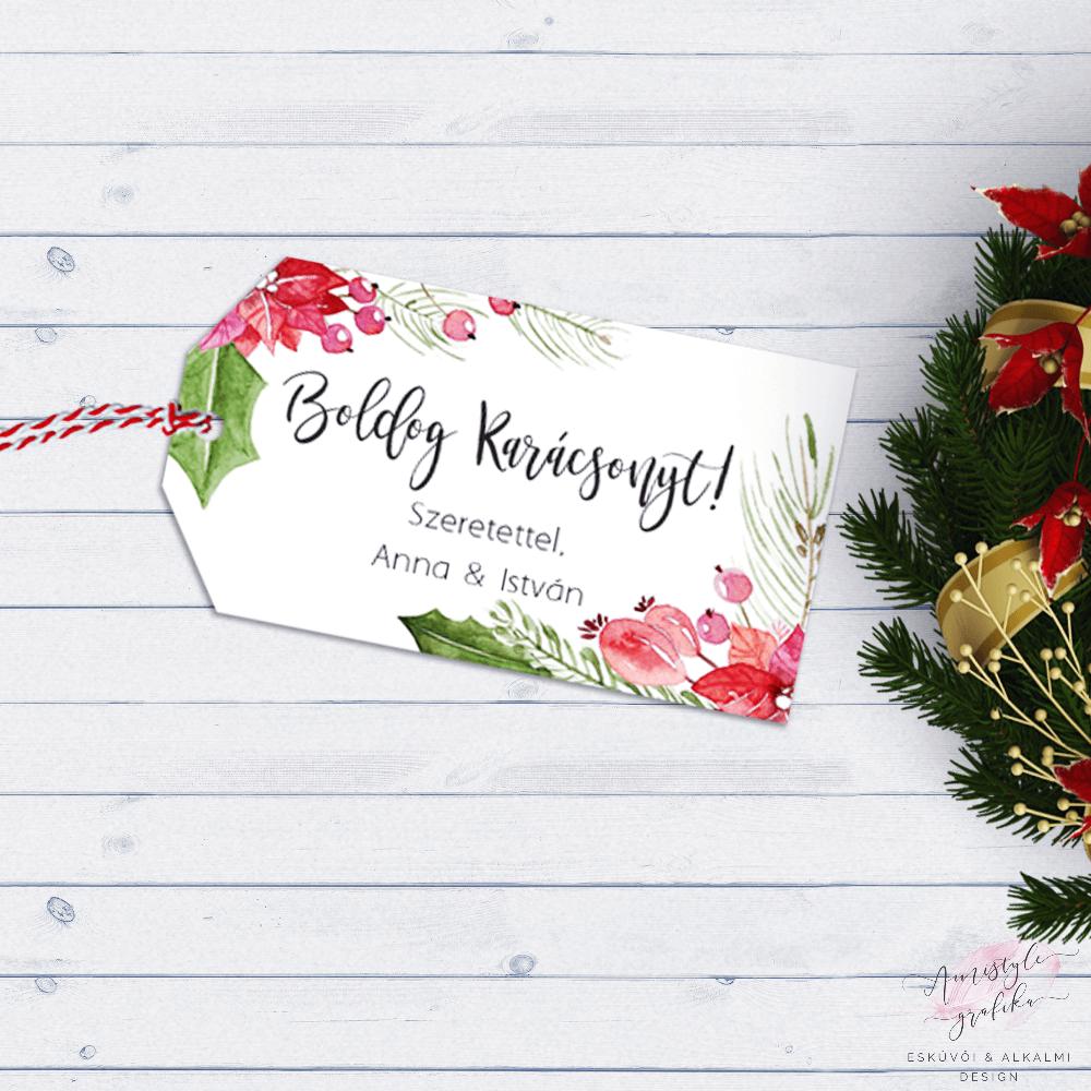 Mikulásvirágos Karácsonyi Ajándékkísérő Kártya