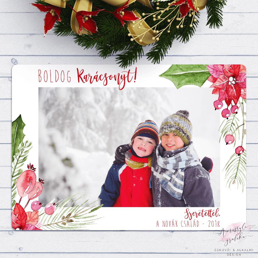 Mikulásvirágos Karácsonyi Üdvözlőlap Fotóval