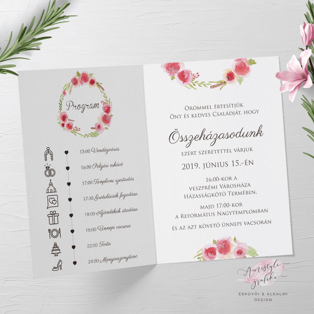 Aquarell Rose Hajtott Esküvői Meghívó