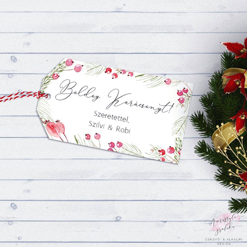 Karácsonyi Bogyógrafikás Ajándékkísérő Kártya 9db/csomag