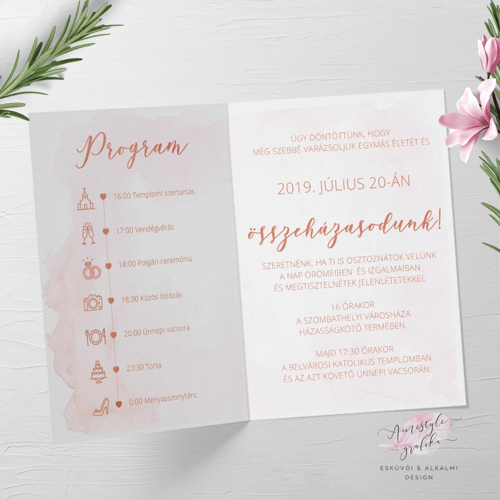 Rosegold és Pink Vízfestékes Hajtott Esküvői Meghívó