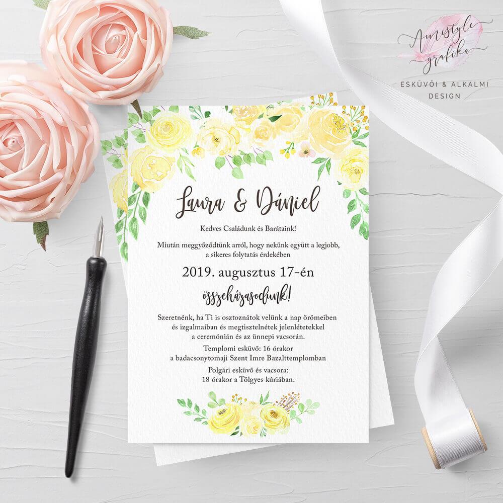 Sárga Rózsás Akvarell Esküvői Meghívó