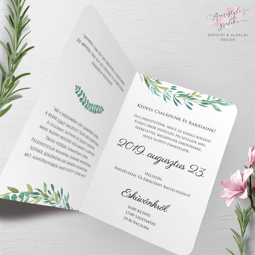 Greenery Koszorús Hajtott Esküvői Meghívó