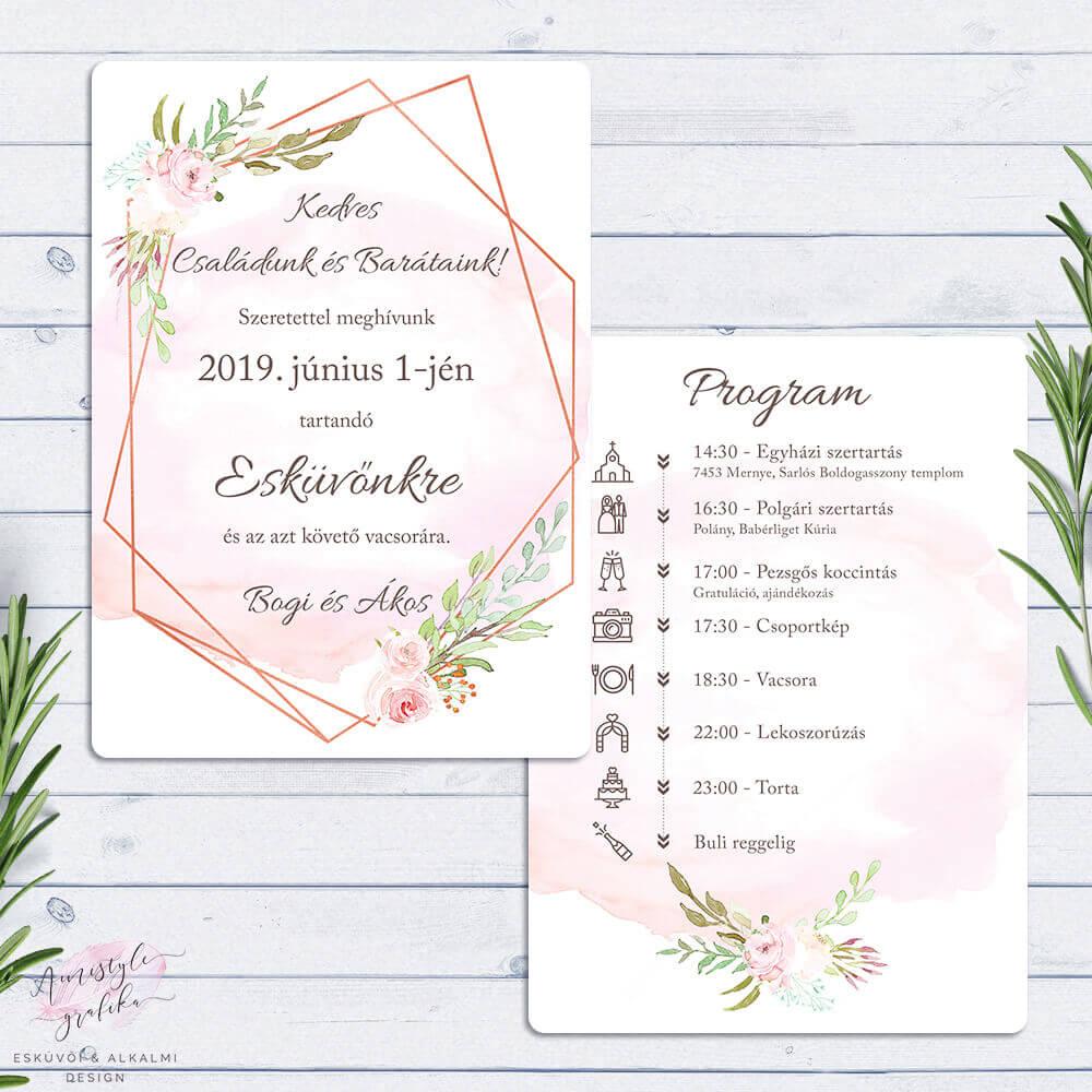Kétoldalas RoseGold Geometrikus Esküvői Meghívó