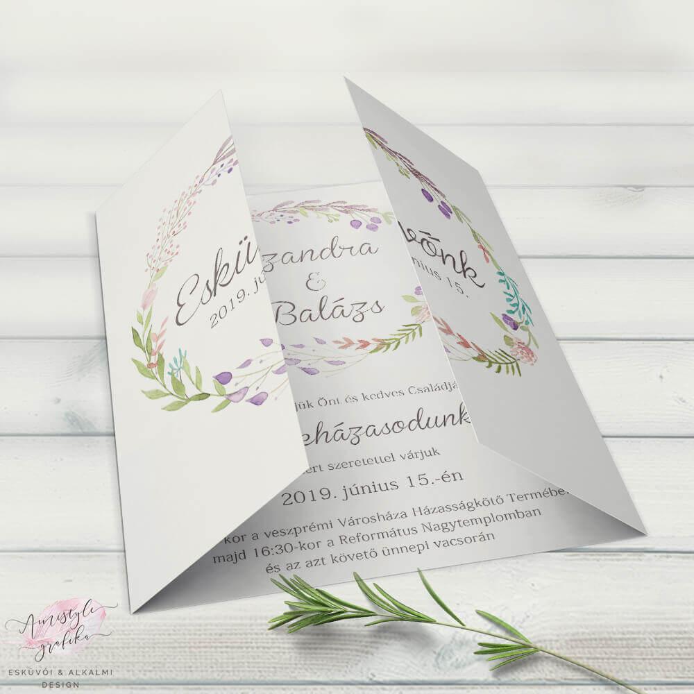 Rusztikus Virágos Nyitható Esküvői Meghívó
