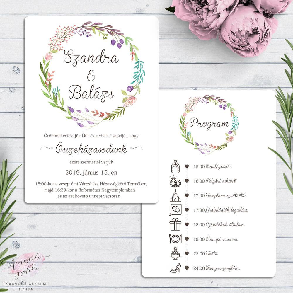 80784fab53 Vadvirágos Kétoldalas Esküvői Meghívó Programmal - Esküvői Meghívó ...